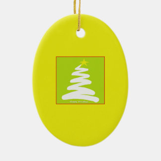 Abstract White Christmas Tree on Gold Ornament