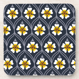 abstract white flower pattern beverage coaster