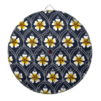 abstract white flower pattern dart boards
