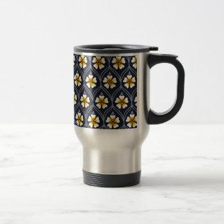 abstract white flower pattern travel mug