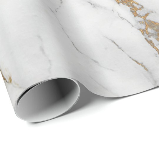 Abstract  White Gold Grey Carrara Marble Stone Wrapping Paper