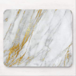Abstract White Gray Carrara Gold Marble Mouse Pad