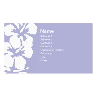Abstract White Hibiscus Flowers on Lavender Double-Sided Standard Business Cards (Pack Of 100)