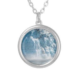 Abstract white ice Alaska mountains Silver Plated Necklace
