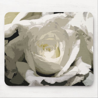 Abstract White Rose Mouse Pad