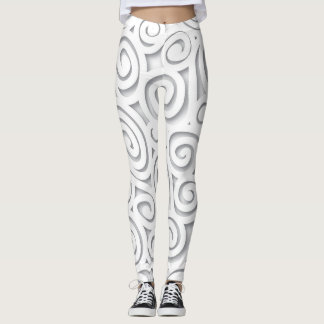 Abstract White Scroll Leggings