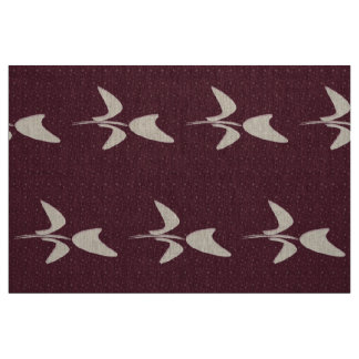 Abstract White Tulip Burgundy Pattern Fabric