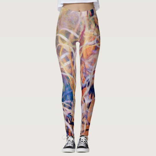 Abstract Wild Grass in Warm Multicolors Leggings