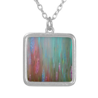 Abstract Wildflowers Silver Plated Necklace