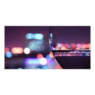 Abstract Wine Glass in a romantic setting Customized Photo Card