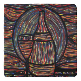 Abstract Wine Painting Trivet