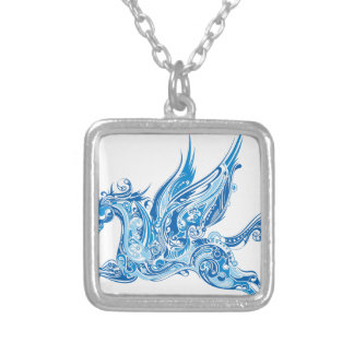 Abstract Winged Horse Silver Plated Necklace