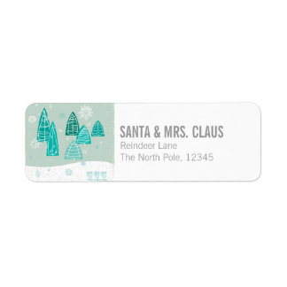 Abstract Winter Scene Return Address Label