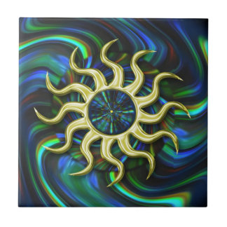 Abstract Winter Sun Ceramic Tile
