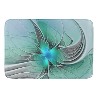 Abstract With Blue, Modern Fractal Art Bath Mat