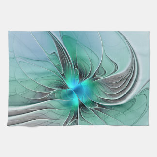 Abstract With Blue, Modern Fractal Art Kitchen Towel