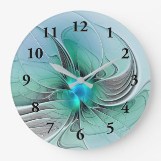 Abstract With Blue, Modern Fractal Art Large Clock