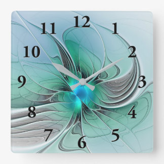 Abstract With Blue, Modern Fractal Art Square Wall Clock