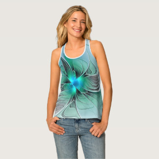 Abstract With Blue, Modern Fractal Art Tank Top