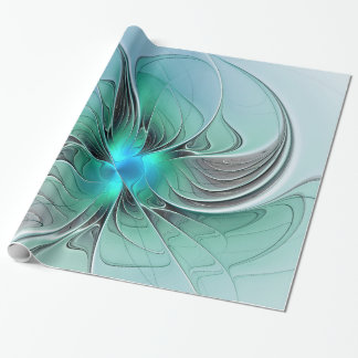 Abstract With Blue, Modern Fractal Art Wrapping Paper