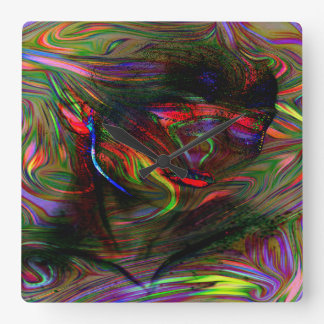 Abstract Woman Two Square Wall Clock