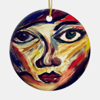 Abstract woman's face ceramic ornament
