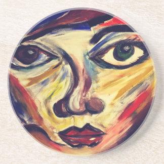 Abstract woman's face coaster
