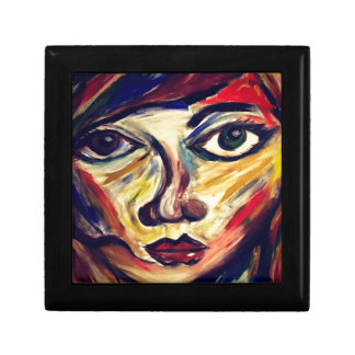 Abstract woman's face gift box