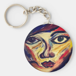 Abstract woman's face keychain
