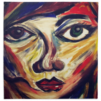 Abstract woman's face napkin