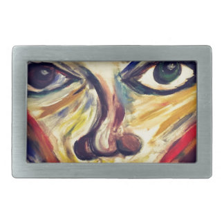 Abstract woman's face rectangular belt buckle