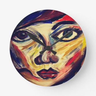 Abstract woman's face round clock