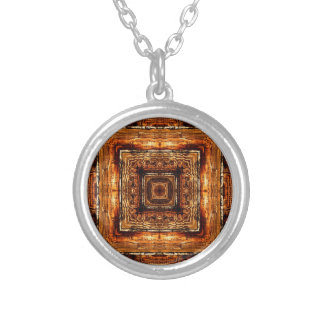 Abstract Wood Grain Texture Silver Plated Necklace