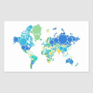 abstract world map with colorful dots sticker