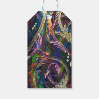 Abstract wrapping in peacock gift tags