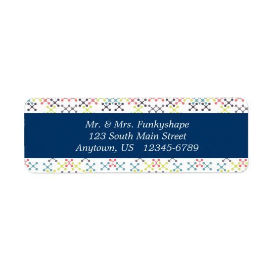 Abstract X shapes with Round Ends Multi-Colour Return Address Label