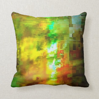 Abstract yellow and green design throw pillow