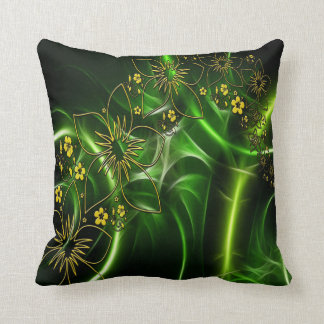 Abstract yellow black and green flower design throw pillow