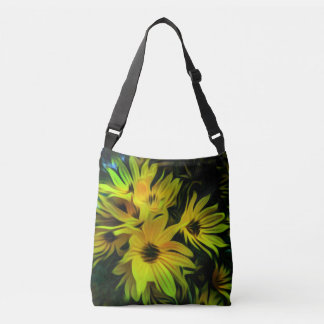 Abstract yellow flower crossbody bag