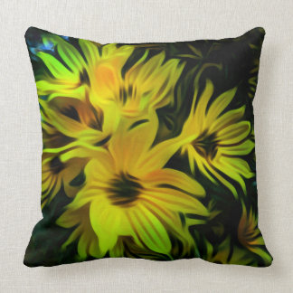 Abstract yellow flower throw pillow