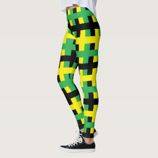 Abstract Yellow, Green and Black Leggings