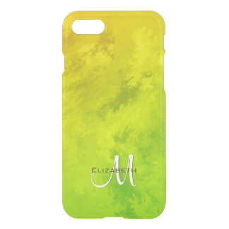 Abstract yellow green monogrammed iPhone 8/7 case