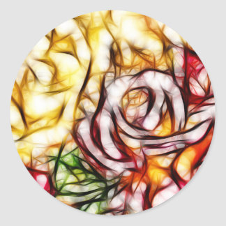 Abstract Yellow Light Rose Artistic Floral Glow Classic Round Sticker