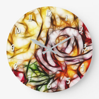 Abstract Yellow Light Rose Artistic Floral Glow Large Clock