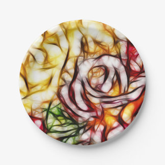 Abstract Yellow Light Rose Artistic Floral Glow Paper Plate