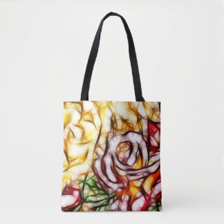 Abstract Yellow Light Rose Artistic Floral Glow Tote Bag