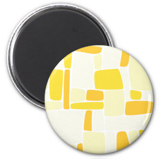 Abstract Yellow Squares 2 Inch Round Magnet
