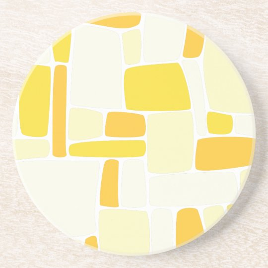 Abstract Yellow Squares Coaster