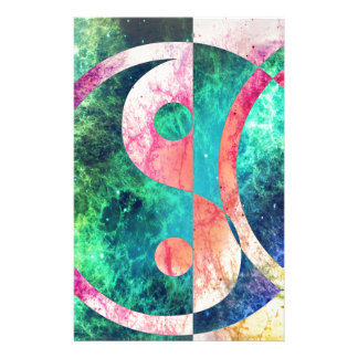 Abstract Yin Yang Nebula Stationery Paper