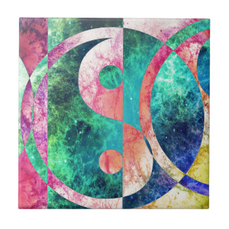 Abstract Yin Yang Nebula Tile